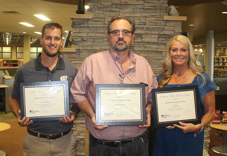 Honored for excellence in teaching at CVTC are, from left, Domer Award winner Justin Borgwardt, and Fuerstenberg Award winners Don Raymond and Pam Entorf.