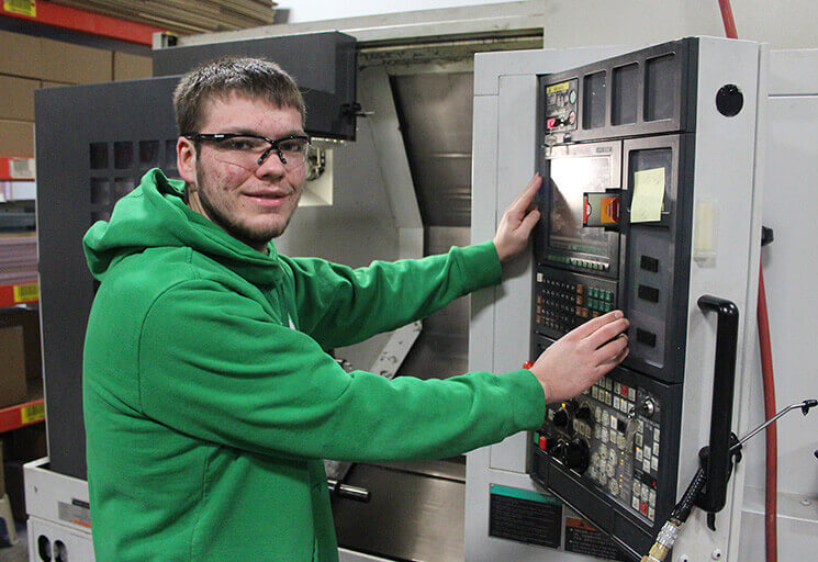Pictured in this 2015 file photo, Brandon Anderson became the first CVTC student intern in the Machine Tooling Technics program, turning that internship into a full-time job at Schmitt Prototypes in Menomonie. A new grant will enable CVTC to expand internship opportunities for students.