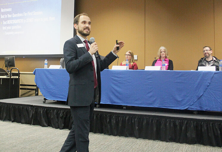 CVTC Entrepreneurship instructor Ben Zugay speaks to an audience of over 100 entrepreneurs at the Starting a Business: Step One event at CVTC in Eau Claire Thursday, Nov. 16. Panelists seated in the background included experts who had started businesses themselves or helped people who had.
