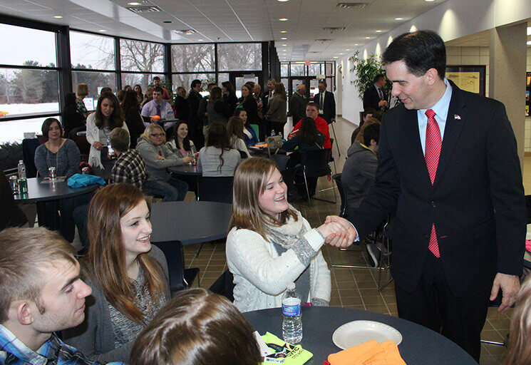 Wisconsin Gov. Scott Walker speaks with a group of students from Gilman High School in January 2016 during a visit to CVTC's Chippewa Falls campus to talk about encouraging technical colleges to increase their efforts to offer dual credit to high school students. A year later, CVTC is preparing to become the first college in the state to offer high
