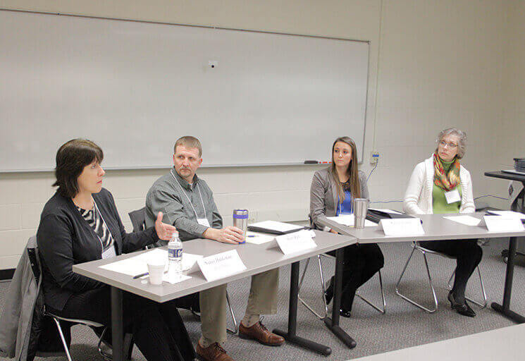 Panelists at CVTC's Safety Day Thursday, Feb. 8 discussing workplace safety culture are, from left, Nancy Haldeman of Bush Brothers Beans in Augusta, Scott Rud of Mason Companies of Chippewa Falls, Kate Carlson of Phillips Medisize in Menomonie and Sonja Leenhouts of Kerry Ingredients in Owen.
