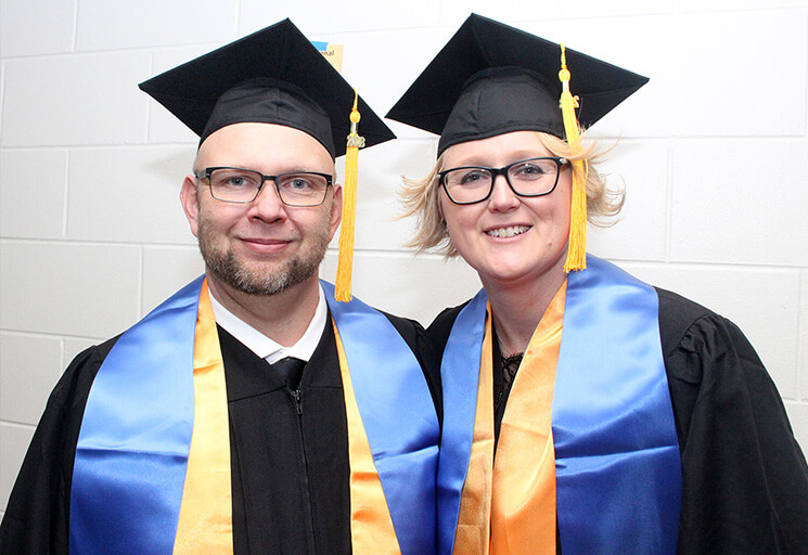 Lance and Jennifer Leisgang of Black River Falls were one of two couples in CVTC's Organizational Leadership program to graduate at the Fall Commencement at CVTC Tuesday, Dec. 18. With their credits from the program transferrable, they plan to continue their education at UW-Stout.
