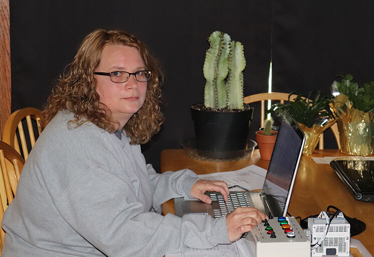 Susan Sunde works from home on a simulator after the COVID-19 pandemic forced her and other CVTC students to online learning this spring semester. Sunde graduates from the Automation Engineering Technology program this month.