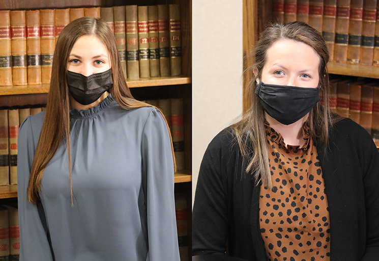 Nadia Sigler, left, of Ellsworth and Jessah Schnack of Eau Claire are learning the paralegal profession with on-the-job training as interns at the law firm of Weld Riley, S.C. in Eau Claire.